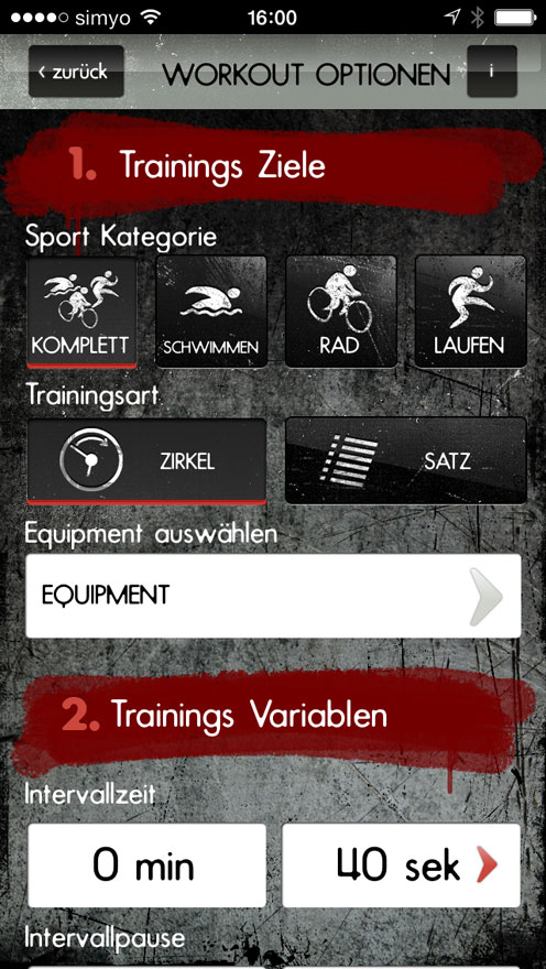 Workout Optionen